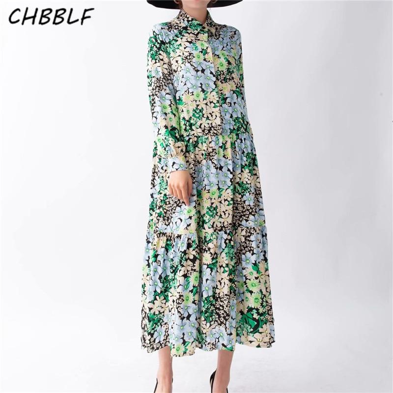 CHBBLF Women Retro Print Dress Long Sleeve Turn Down Collar Dress Casual Wear Pleated Dresses XSW1151