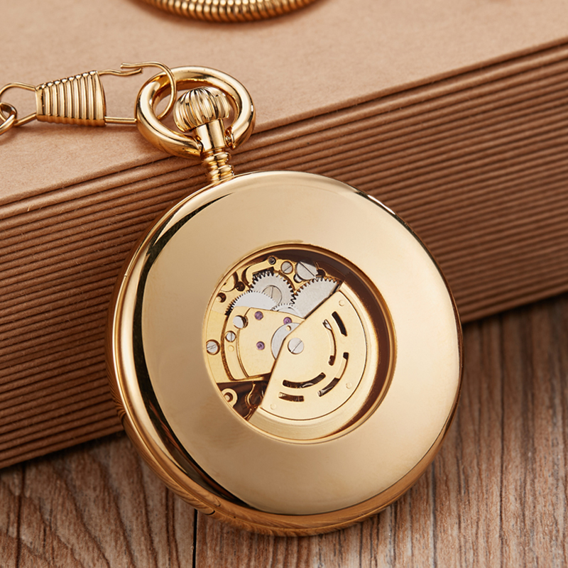 Luxury Copper Silver Automatic Mechanical Pocket Watch Clock Fob Chain Watch Men Roman Numbers Clock High Quality Pocket watches