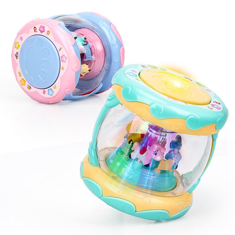 Baby Music Drum Children Rotating Hand Drum Music Infant Early Childhood Educational 2-3-Year-Old 18 Months Colorful Toy