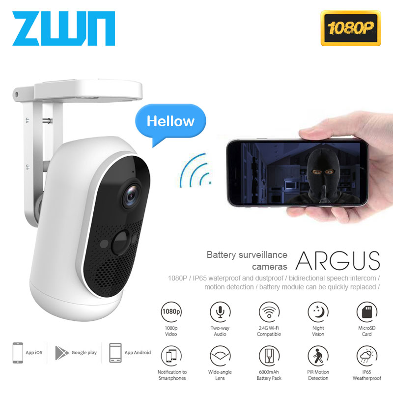 ZWN 1080P WiFi IP Camera Night Vision Two-way Audio Wide Angle Waterproof Wireless Smart Security Safety Monitor for Home