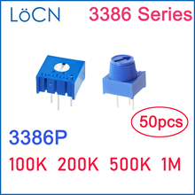 3386P 100K 200K 500K 1M 104 204 504 105 Trim Pot Trimmer Potentiometer with Knob resistor ohm 3386 High Quality 50PCS LoCN