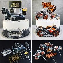 Motosiklet mutlu doğum günü pastası Topper kombinasyonu araba Cupcake Toppers erkek erkek doğum günü partisi düğün tatlı kek süslemeleri