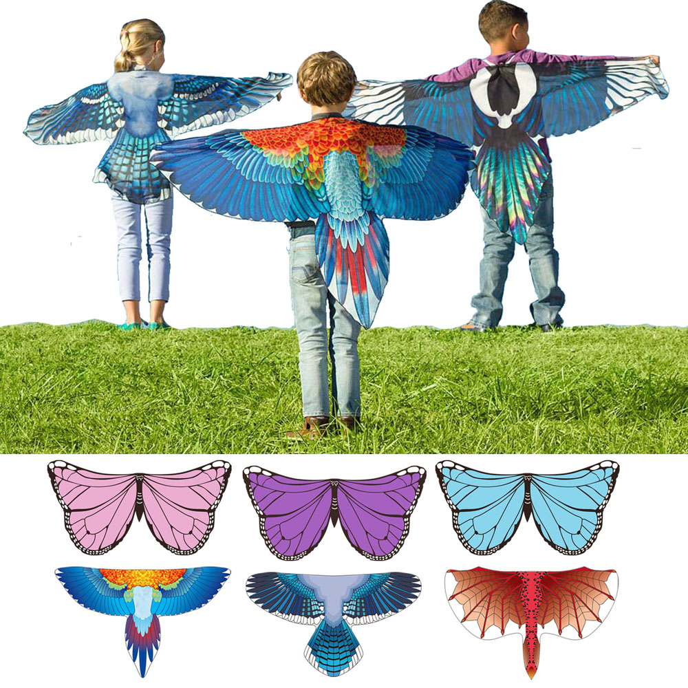 Dragon Costumes Butterfly Wings Bird Cosplay Macaw Magpie Inspired Wings Kids Costume Blue Red