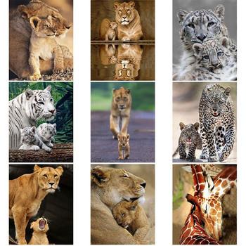 Dzikie zwierzę 5D diamentowe malowanie krzyż zestaw do szycia ręcznie mama miłość tygrys ściana z lwem naklejki mozaika diament haftowany obraz tanie i dobre opinie jincc Obrazy PAPER BAG Pojedyncze Akrylowe Pełna Zwierząt Zwinięte 1-30 Plac Europa DIY Full Square Round Rhinestone