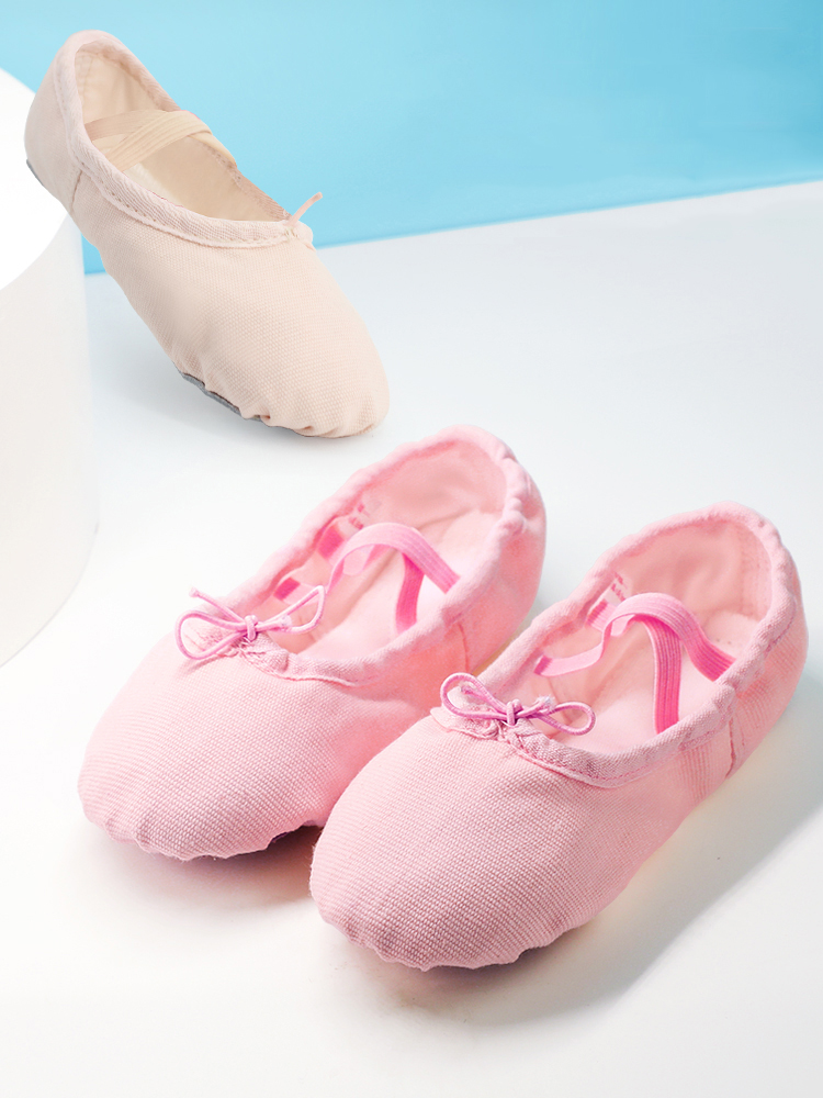 Professional Child Girls Kids Cotton Canvas Soft  Ballet Dance Practice Shoes