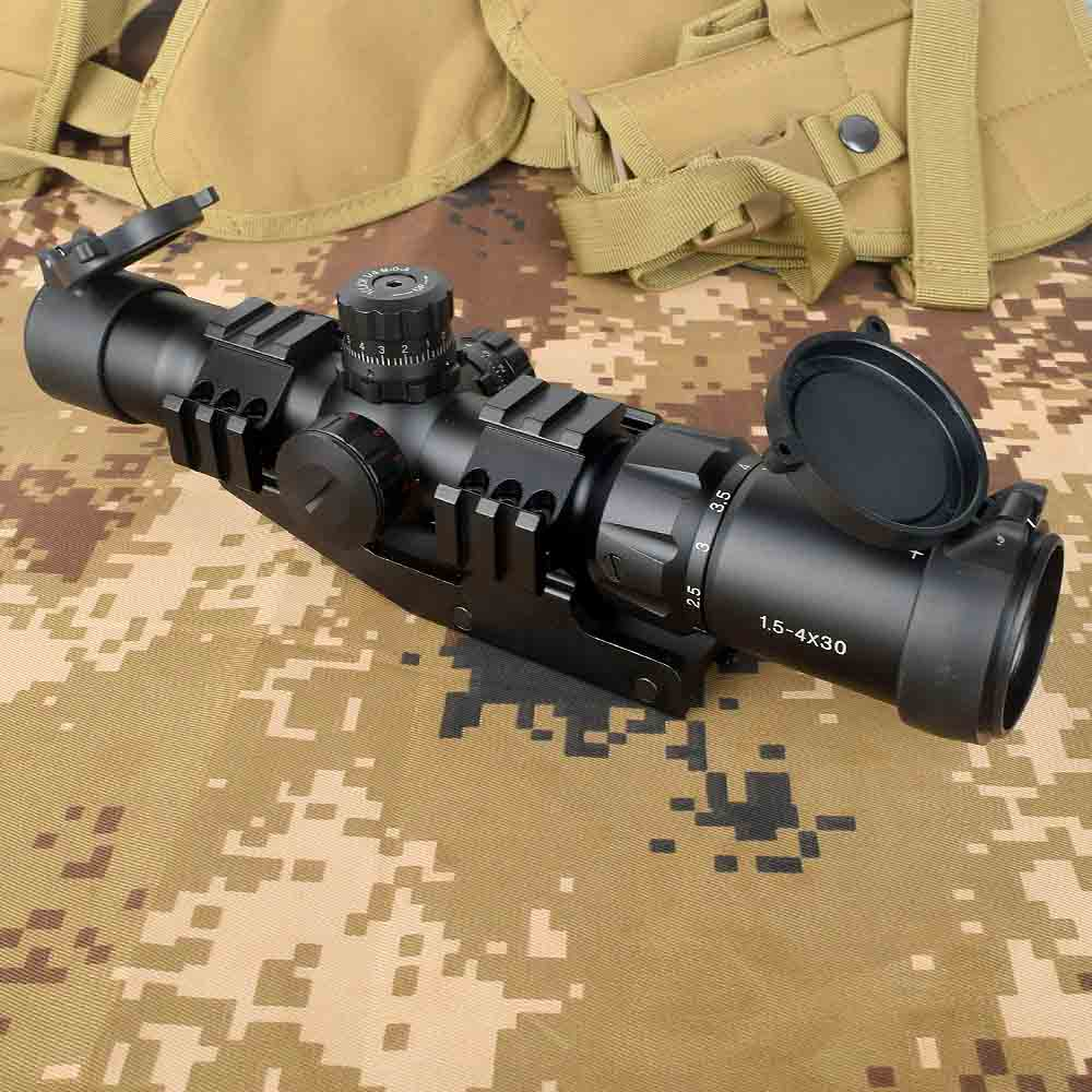 Tactical 1.5-4x30 Tri-illuminated Red Green Blue Mil-dot Reticle Rifle Scope Riflescope Sight