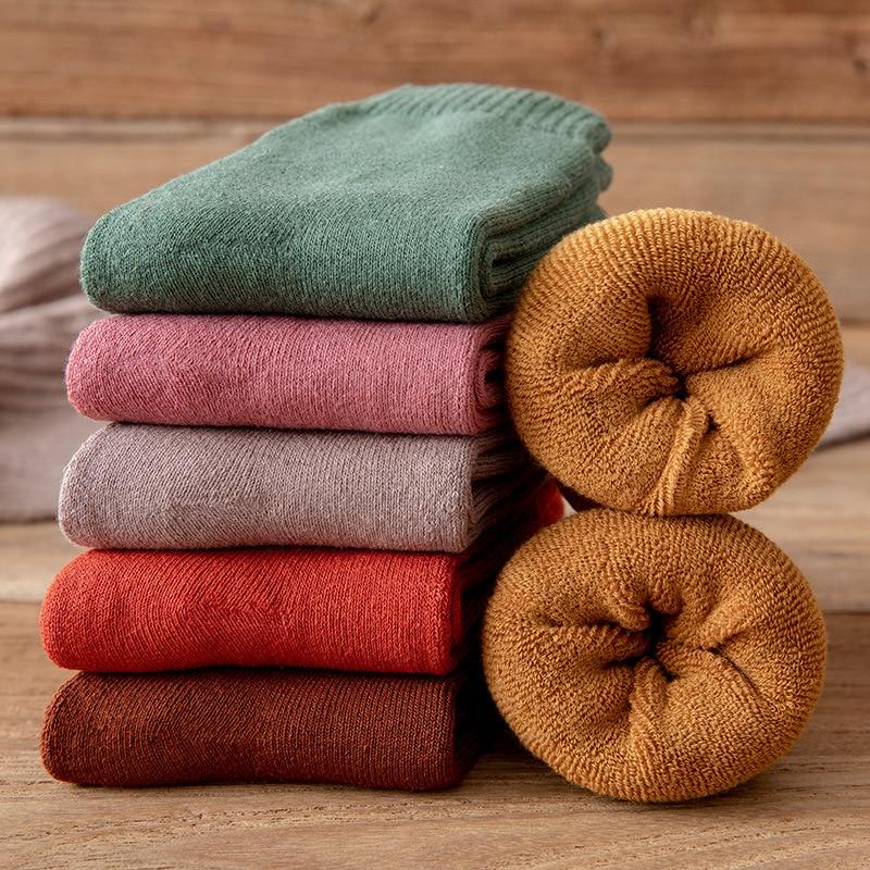 Зимние женские носки, теплые плотные теплые шерстяные кашемировые зимние сапоги, носки для сна в пол для мужчин, однотонные мягкие модные но...