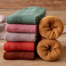Inverno mulheres meias mais quentes engrossar lã térmica cashmere neve botas chão dormir meias para homens cor sólida macio moda menina