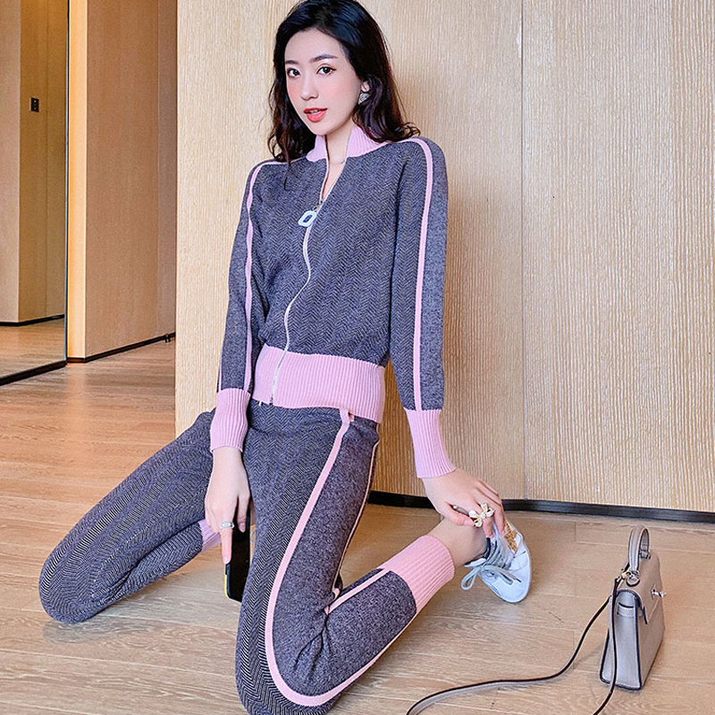 Long Sleeve Fall Pink 2 Piece Set Winter Knitted Tracksuit Women Turtlneck Zip Jacket Sweater Coat Pant Set Female Clothing Knit