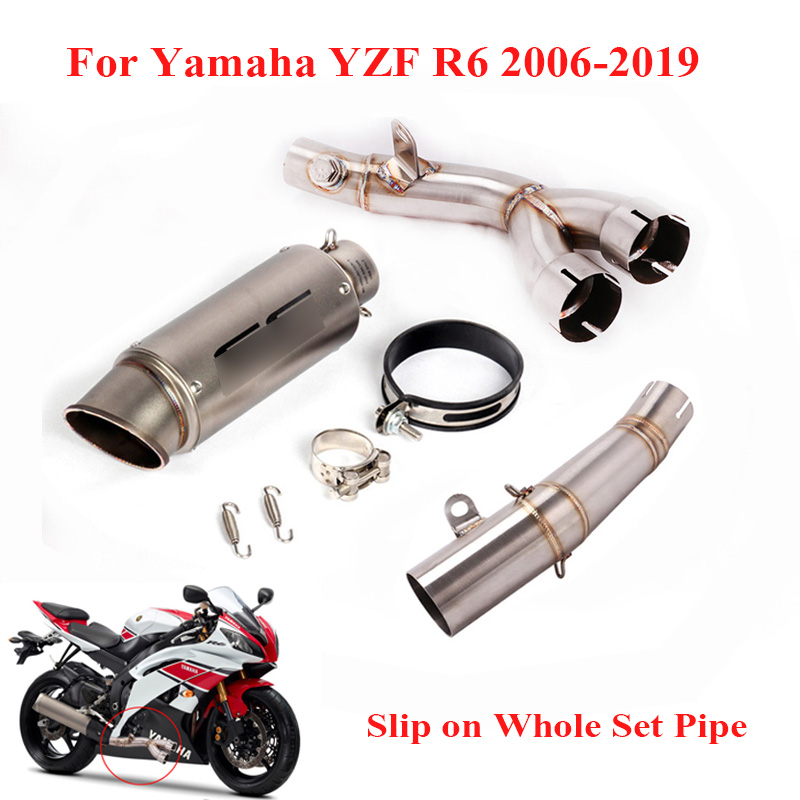 Motorcycle Exhaust Pipe Silencer Tips Mid Link Tube for 1998-2005 Yamaha YZF R6