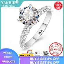 Yanhui Luxe 2.0ct Lab Diamanten Verlovingsringen Originele 925 Zilveren Fijne Sieraden Bruid Bruiloft Band Vrouwen Kerstcadeau RX279