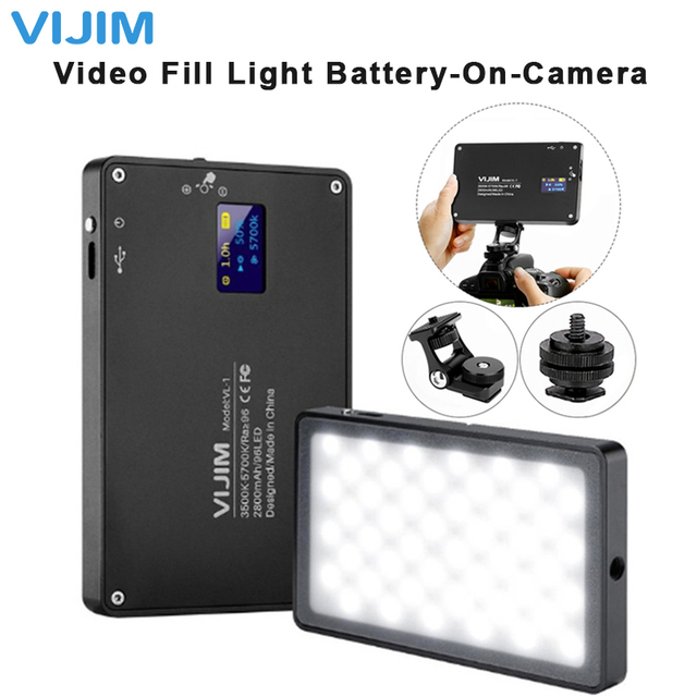 On Camera DSLR 울트라 얇은 디 밍이 가능한 led 비디오 라이트 96 pcs cri96 oled 디스플레이 카메라 dslr 사진 조명 채우기 빛에 배터리와 함께