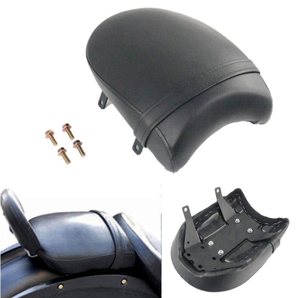 Motorcycle Black Leather Rear Passenger Pillion Pad Seat For Victory High-Ball Vegas Kingpin Deluxe Vegas 8-Ball