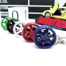цена на Hellaflush style TE37 Rim keychain Car Wheel hub Brake disc key ring JDM decorative Modification auto accessories