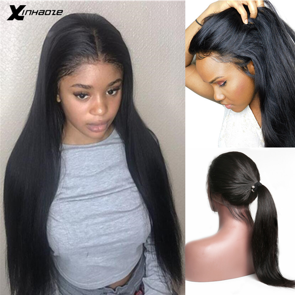 Glueless Human Hair Full Lace Wigs Pre Plucked Natural Hairline With Baby Hair Straight Brazilian Remy Hair Wigs Bleached Knots
