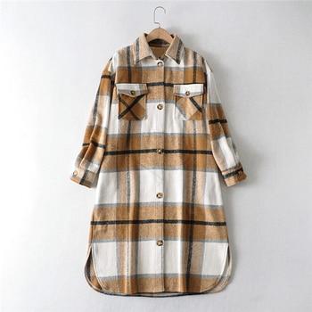 2020 Autumn Winter Women Fashion Warm Vintage Plaid Oversize Woolen Jackets Coat Casual Loose Long Overcoat Female Outwear Tops 4