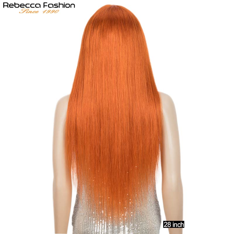 Orange Ginger Straight Wig With Bangs Brazilian Remy Straight Human Hair Wig Pre Plucked For Women Highlight Orange Straight Wig