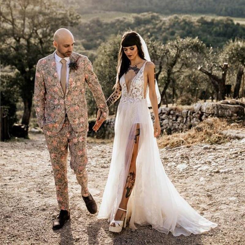 Hippie Wedding Dress Cut Side Deep V Neck Open Back High Slit Lace Tulle Bridal Gown Robe De Mariee 2020 Fashion Design Backless Wedding Dresses Aliexpress