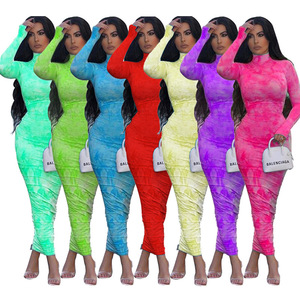 Image 3 - 2020 Autumn Ruched Tie Dye Print Long Women Dress Sexy O Neck Long Sleeve Neon Tube Bodycon Streetwear Club Party Dress Outfits