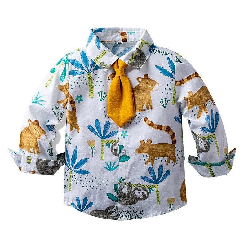 Spring Autumn Kids Shirts Boys Girls Shirts Long Sleeve Cartoon Print  Kids Clothes Casual Cotton Shirts Children's Clothing