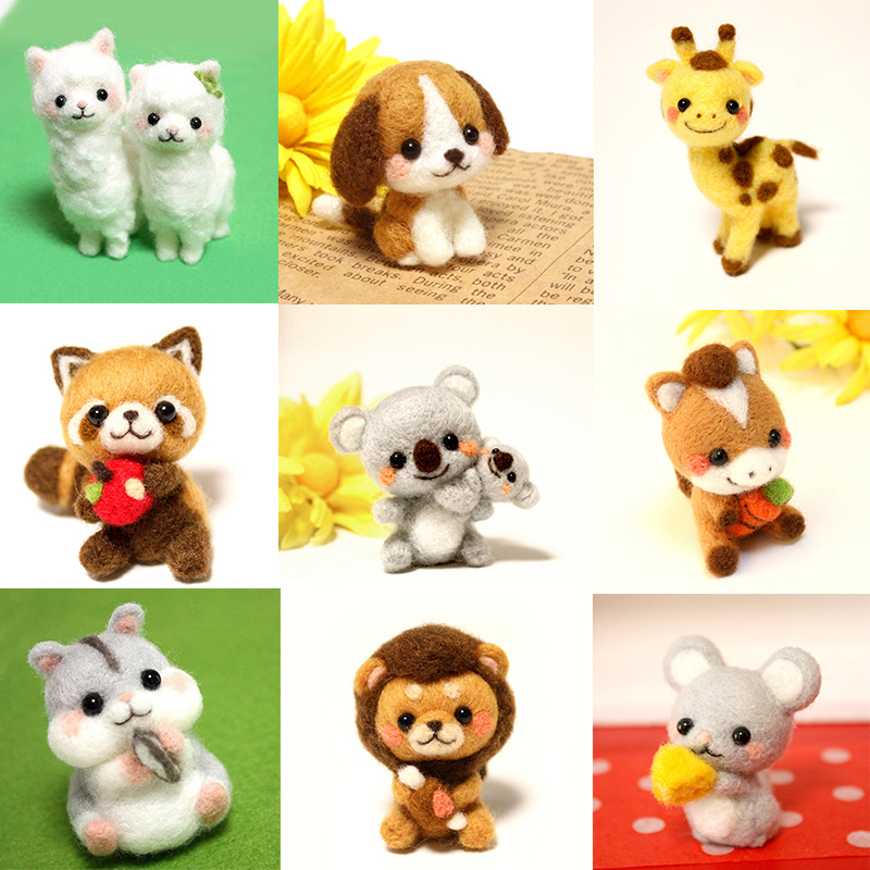 Funny Handmade Diy Toys Cartoon Small Animal Zoo Wool Felt Set Plush Toy Kill Time Craft Toy Gift For Children