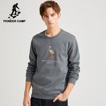 Pioneer Camp Hoodiesผู้ชายผ้าฝ้าย 100% สีดำสีเทาฤดูหนาวWarm Casual Hoodieเสื้อสำหรับชายAWY903658