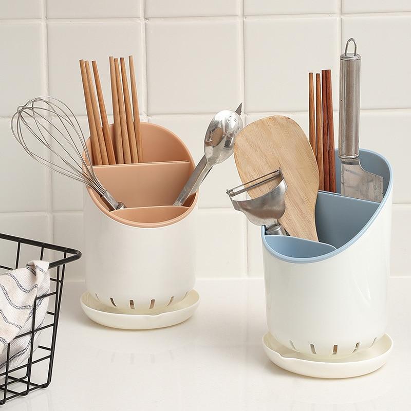 Multi-Function Chopsticks Spoon Drain Rack Chopsticks Tube Kitchen Cutlery Storage Holder