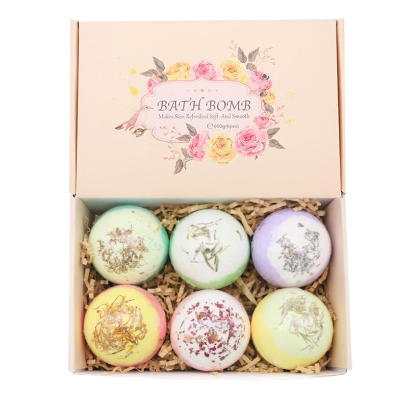 6pcs Bubble Bath Salt Ball Environmental Protection And Durability Shower Bomb Essential Oil Moisturize Exfoliating Soap