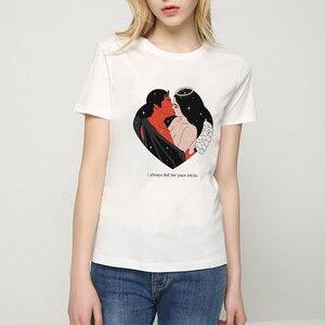 Женские винтажные футболки с коротким рукавом The Angels Protect Me, винтажный Топ в стиле Харадзюку для девушек и женщин
