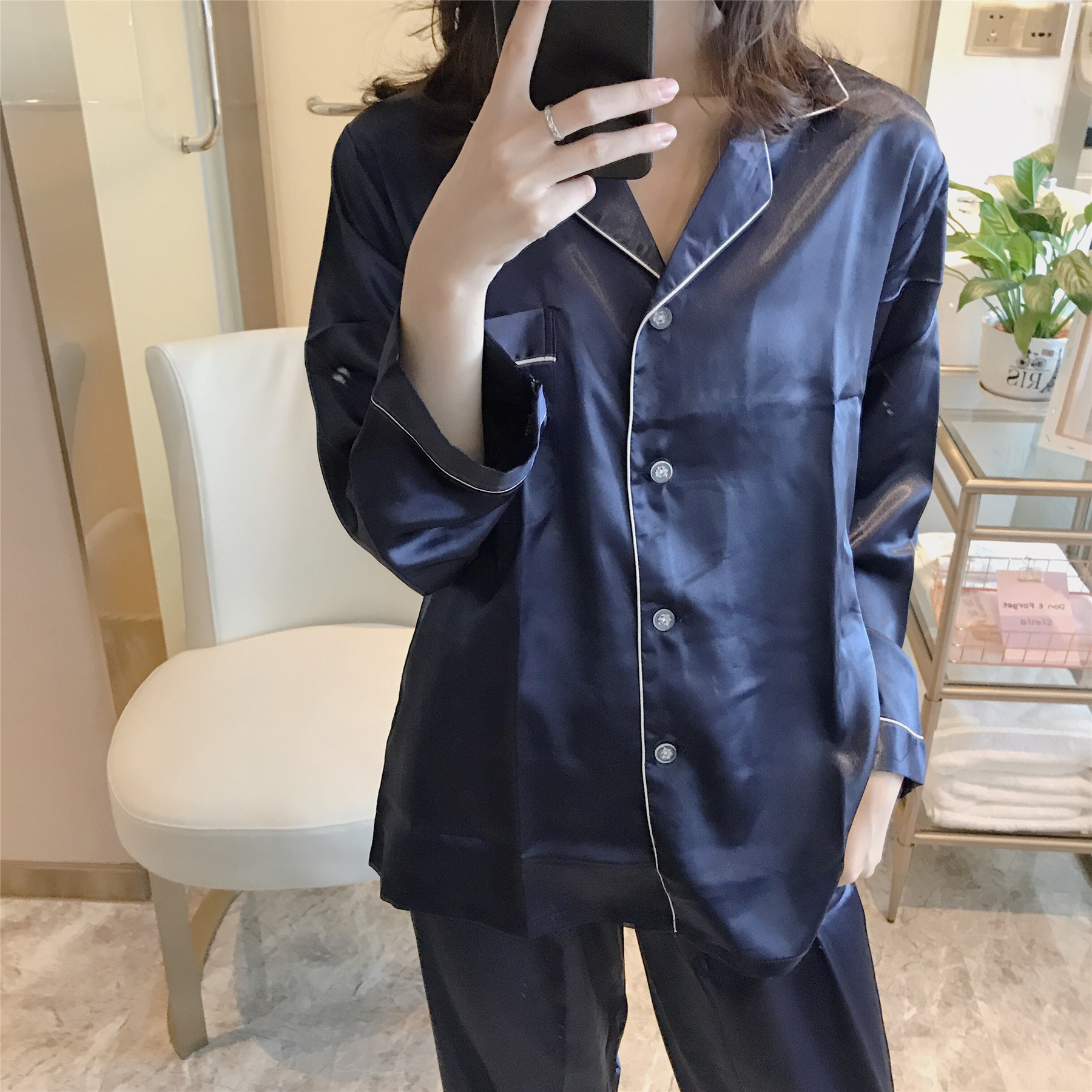 Pajamas Women's Real Silk Korean-style Spring Summer Solid Color Long Sleeve Autumn Cardigan Set Thin Ice Silk Home Wear