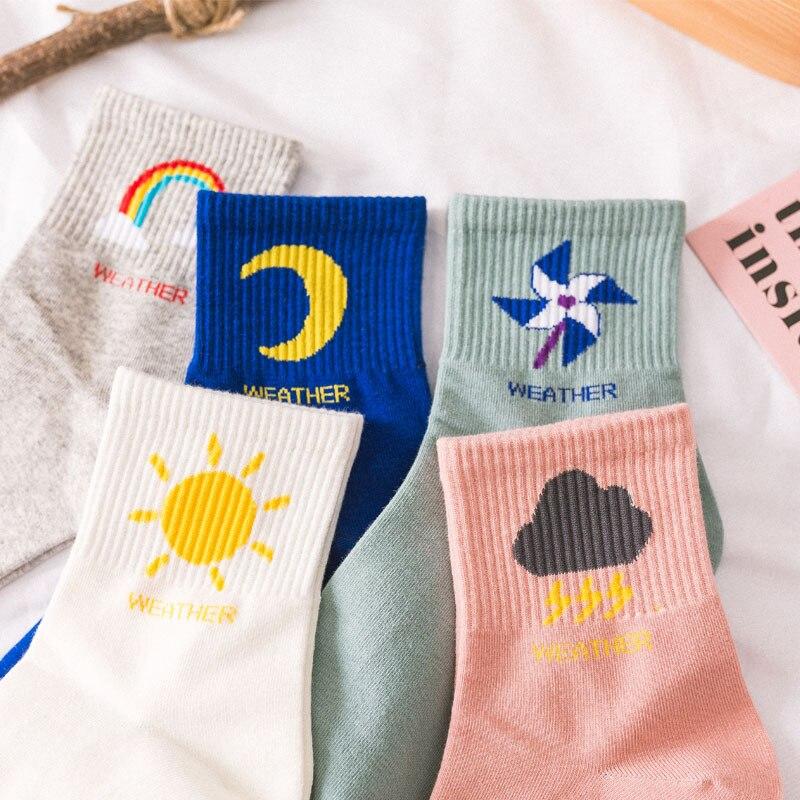 2019 New Fashion Korean Women Style Long Socks Meia Fun Sun Moon Windmill Rainbow Pattern Cotton Socks Cartoon Weather Socks
