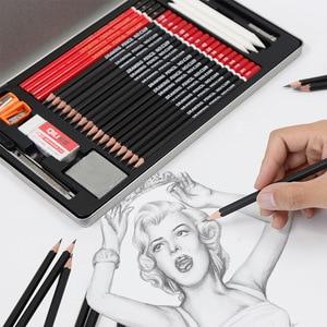 Image 2 - 29pcs Sketch Pencil Set Professional Sketching Drawing Kit Wood Pencil Pencil Iron box For Painter School Students Art Supplies