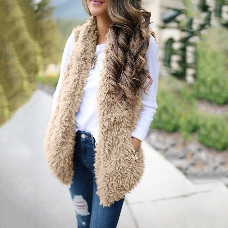 2020 Fashion Plus New Fashion Faux Fur Coat Women Faux Fur Vest For Women Sleeveless Cardigan Women Sleeveless Jacket  Vest