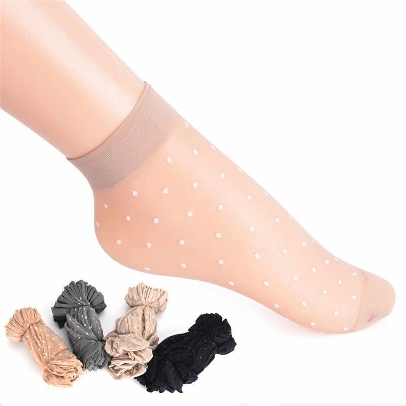 10 çift nefes yaz seksi cilt çorap saf renk noktalar kadın kızlar naylon çorap elastik ultra-ince şeffaf kısa çorap
