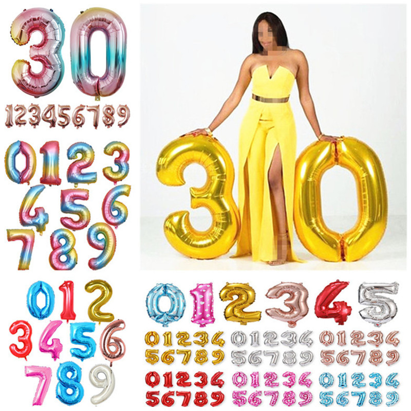 Giant Foil Number Balloons letter Air Helium Birthday Age Party Wedding HOT scx