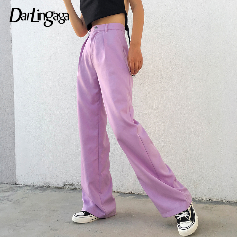 Darlingaga Casual Solid High Waist Wide Leg   Pants   Women Loose Harajuku Ladies Trousers Street Palazzo   Pants     Capri   Autumn Bottom