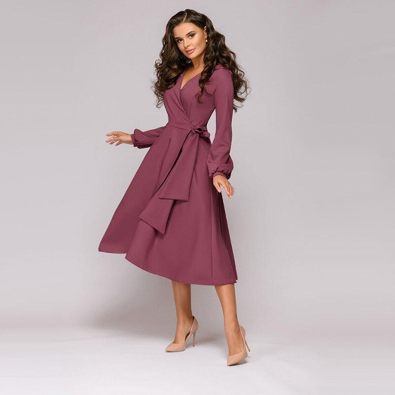 Robe trapèze à manches longues 1