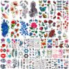 56 Sheets Variety Colorful Rose Flowers Temporary Tattoos For Women, Realistic Feather 3D Butterfly Fake Tattoos
