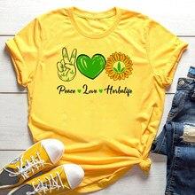 Koszulka Peace Love Herbalife koszulka ze słodkim słonecznikiem koszulka damska dopasowana koszulka damska Herbalife 24 koszule Vintage estetyczne topy