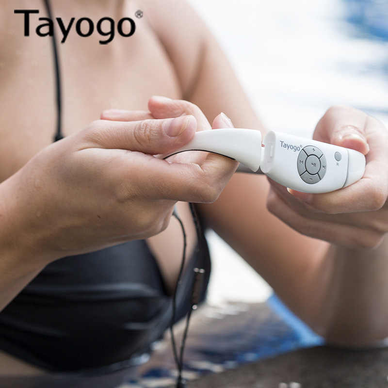 Tayogo ハイファイ水中音楽プレーヤーのヘッドセットイヤホンと Bluetooth ラジオ FM 歩数計ハンズフリーヘッドホン水泳ダイビング