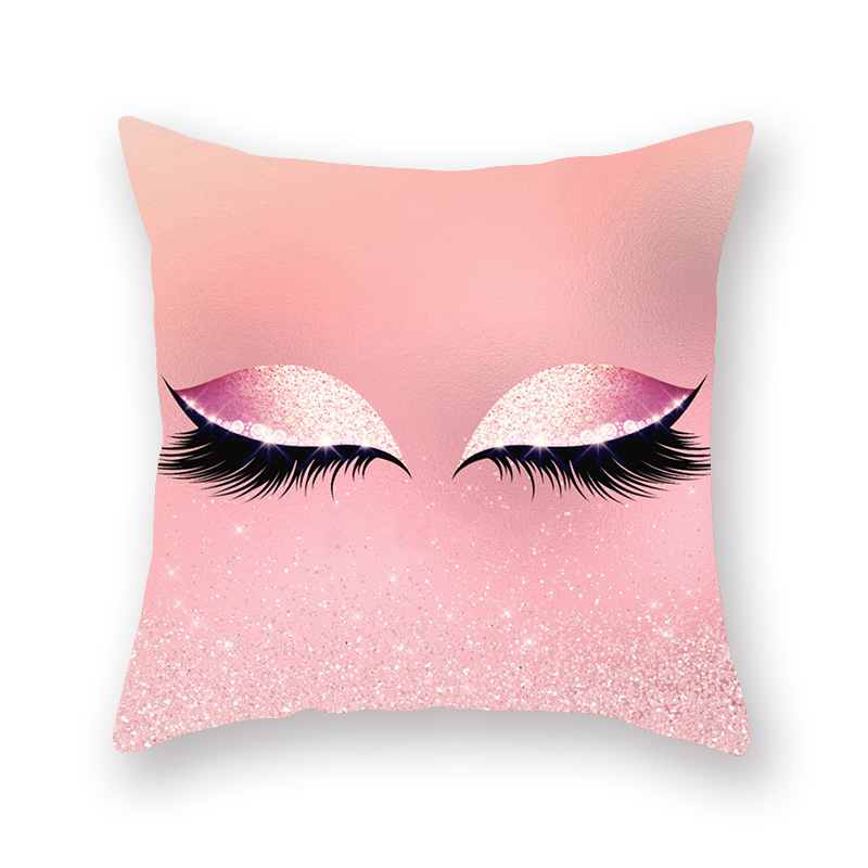 Eyes Cushion Cover Pillow Case Lips Eyelashes Pilow Jobs Cosmetic Stay Focused 45*45cm