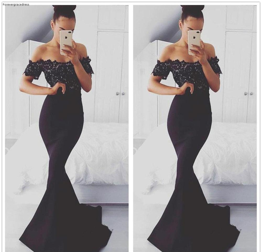 2019 Mermaid Long   Evening     Dress   Off The Shoulder Lace Formal Holidays Wear Graduation Party Gown Custom Made Plus Size