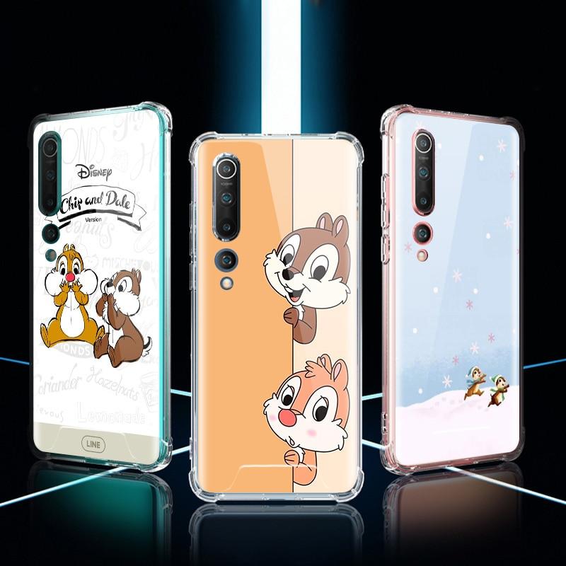 Chip And Dale Case For Xiaomi Mi Note 10 9 CC9 9T Pro 5G CC9E 8 A2 Lite X2 F1 Airbag Anti Fall TPU Phone Coque