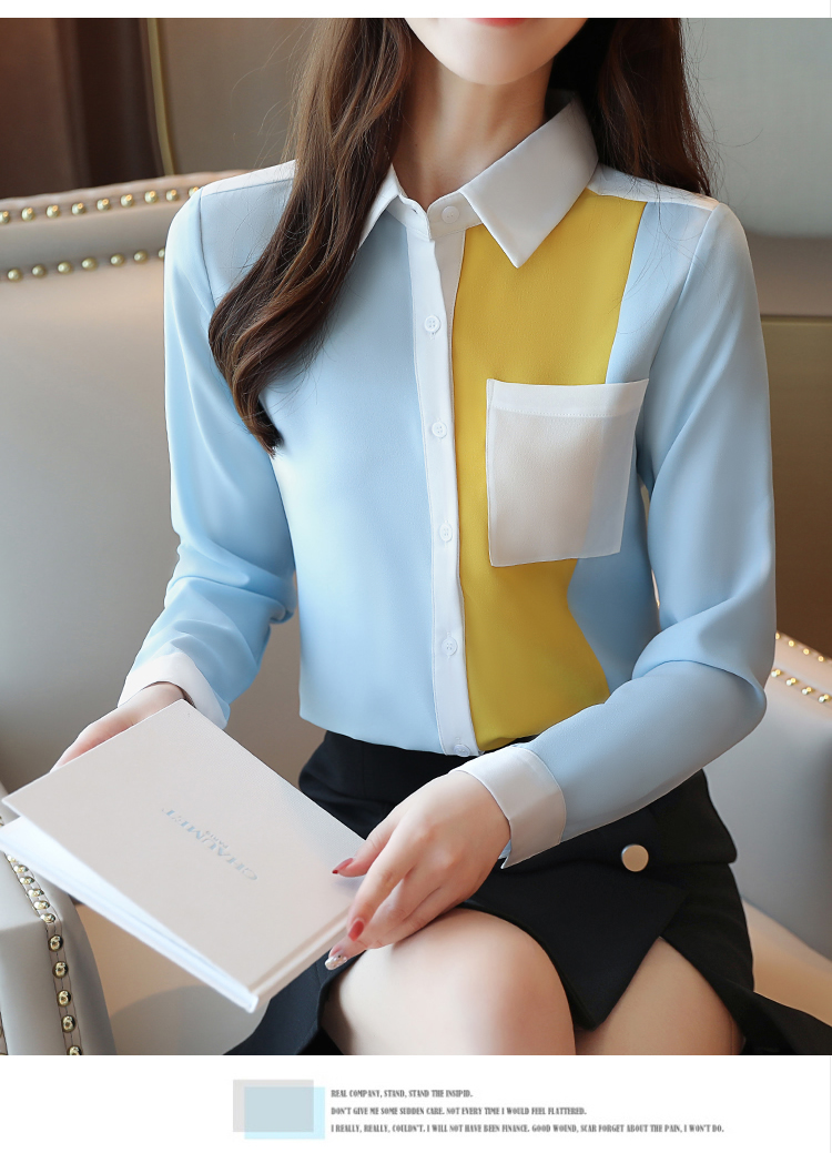 2020 summer Fashion Women Chiffon Blouses Office Lady Shirts Long Sleeve Pocket Women Tops Casual Spliced Womens blusas Clothing 8