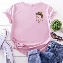 Cartoon T Shirts Cute Cloth Bag Cat Printing Tshirt For Women Solid Color Casual Woman T-Shirts Kawaii Gothic Short Sleeve Tops(China)