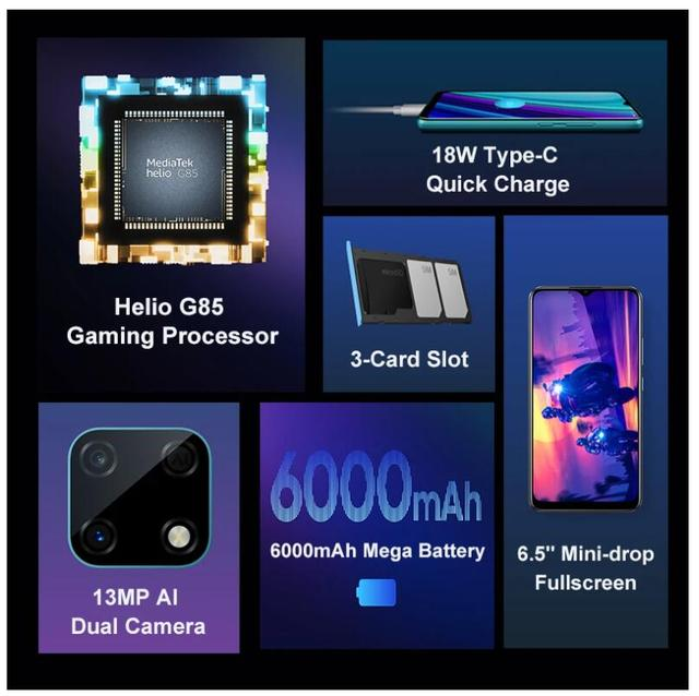 "Global Version realme Narzo 30A 4GB 64GB  6.5""HD+Helio G85 6000mAh 13MP AI Triple Dual Camera 18W EU ChargerMobile Phone 4"