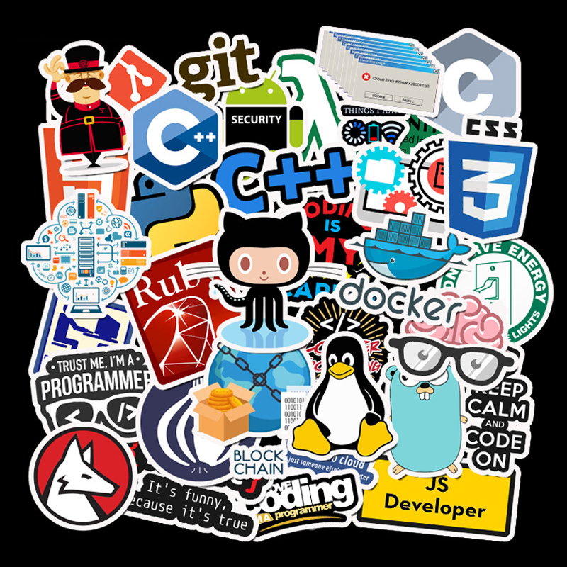 50pcs Software Programming Language Waterproof Stickers For Programmers