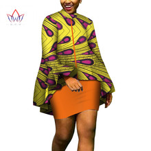 African Women Clothing 2 Piece Set Dress Suit Crop Top and Skirt Bazin Riche WY4713