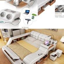 Bed-Frame Massage Bluetooth-Speaker Ultimate Bed Nordic-Camas Multifunctional Genuine-Leather