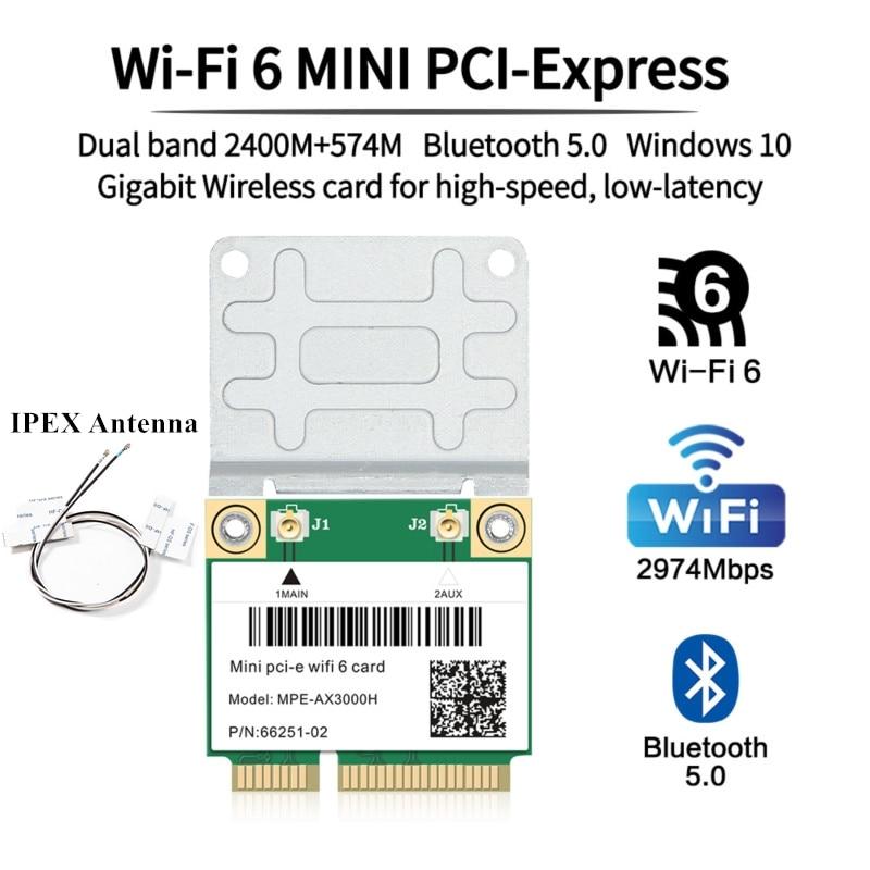 2974 Мбит/с Wi-Fi 6 Беспроводная половинная мини PCI-E сеть Wlan Wi-Fi Карта Bluetooth 5,0 802.11ax/ac 2,4G/5 ГГц адаптер MU-MIMO IPEX антенна